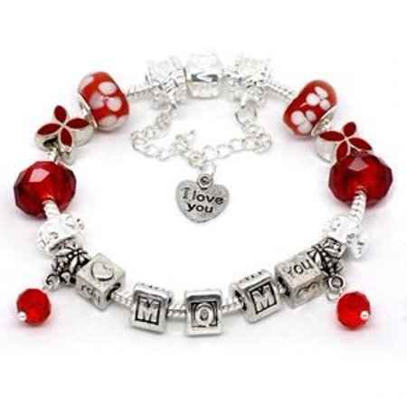 Silver Polished Red I Love You Mom Mothers Day European Style Bracelet Premade With Charm Beads - Mother's Day Charms