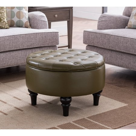 Admirable Cristo 24 Round Ottoman Footstool With Storage Reversible Top Button Tufts Green Vinyl Black Legs Transitional Gmtry Best Dining Table And Chair Ideas Images Gmtryco