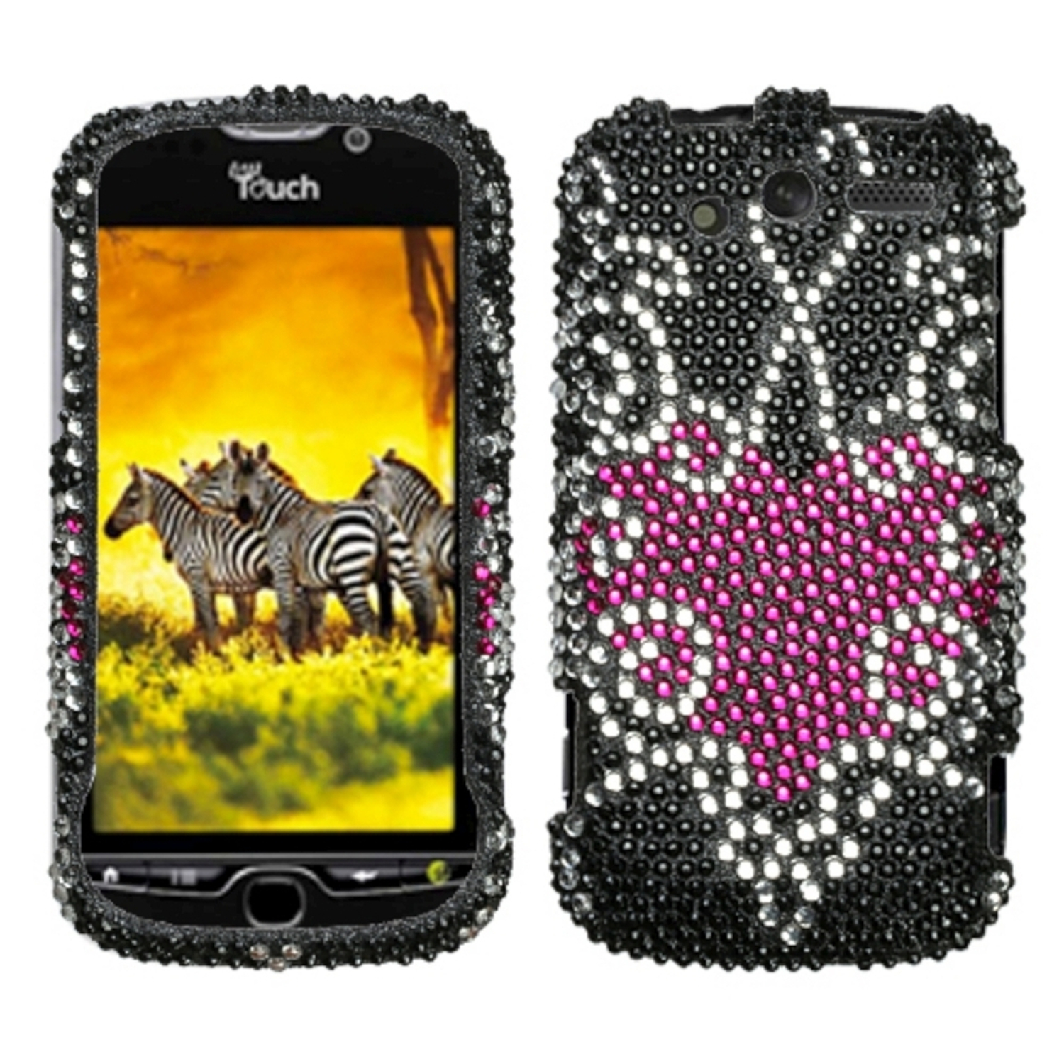 Insten Trapped Heart Diamante Case for HTC: myTouch 4G