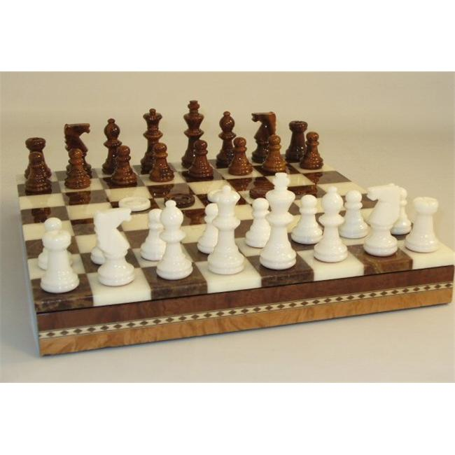 "Scali NS141BN 13-1 2"" Alabaster Checkers and Chess Set in Inlaid Wood Chest Brown and White by Scali"