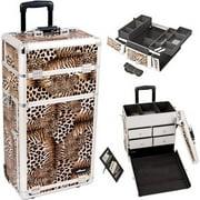 Sunrise I3262LPBR Leopard Trolley Makeup Case - I3262