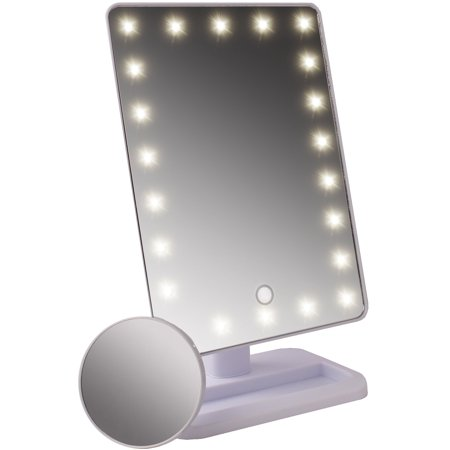 Large Four Light Vanity - LED Large Lighted Makeup Mirror with Removable 10X Spot Magnifier by bogo Brands