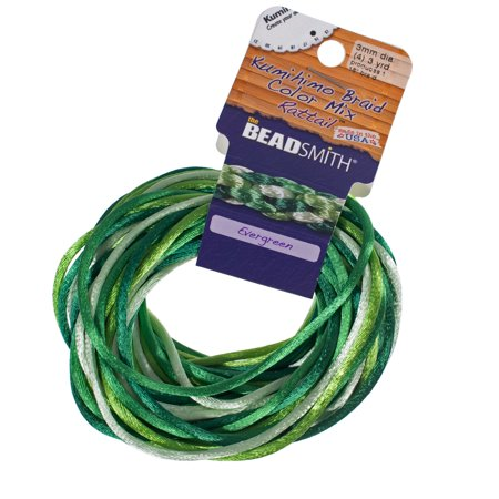 Craft County Kumihimo Braid Rattail Satin Cord Packs - 4 Strands - 12 Yards Total Per Spool