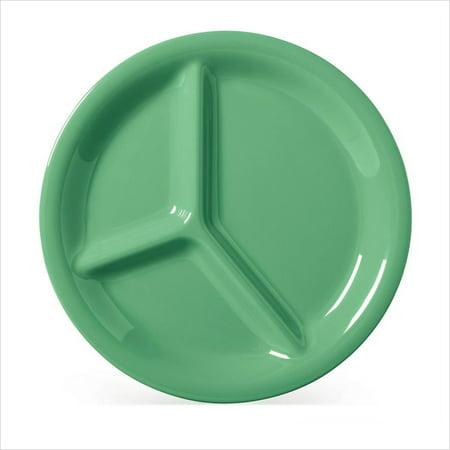 10.25 Inch Three Light - Diamond Mardi Gras 10.25 inch 3 Compartment Plate Rainforest Green Melamine/Case of 12