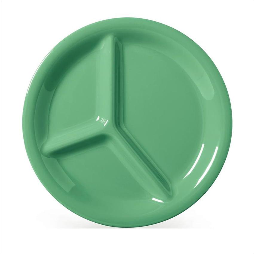 Diamond Mardi Gras 10.25 inch 3 Compartment Plate Rainforest Green Melamine/Case of 12