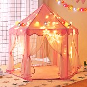 """Tobbi Princess Castle Tent Fairy Play Tent Portable Play House Indoor/Outdoor for Girls/Children/Toddlers Gift Room, X-Large, Pink 55""""x 53""""(D x H)"""