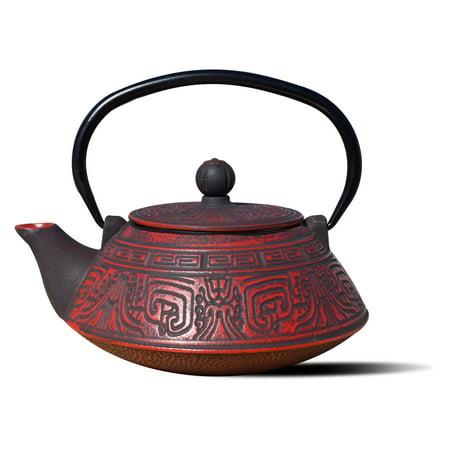 Joyce Chen Cast Iron Teapot (Red/Black Cast Iron