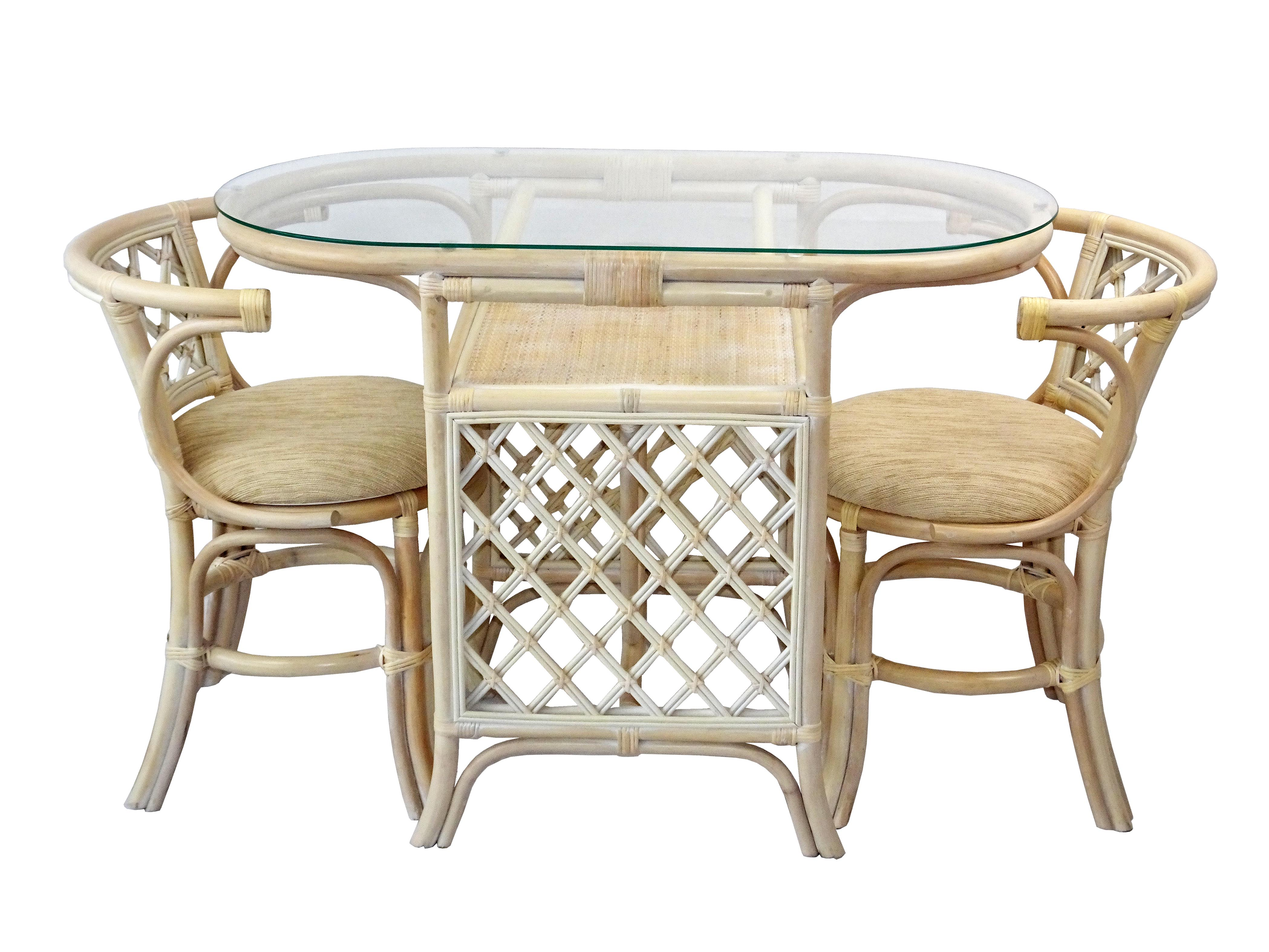 Sk New Interiors Dining Furniture Borneo Set Of 2 Natural Rattan Chairs W Cream Cushion And Oval Table W Glass White Wash Walmart Com Walmart Com