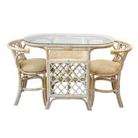 SK New Interiors Dining Furniture Borneo Set of 2 Natural Rattan Chairs w/Cream Cushion and Oval Table w/Glass, White Wash