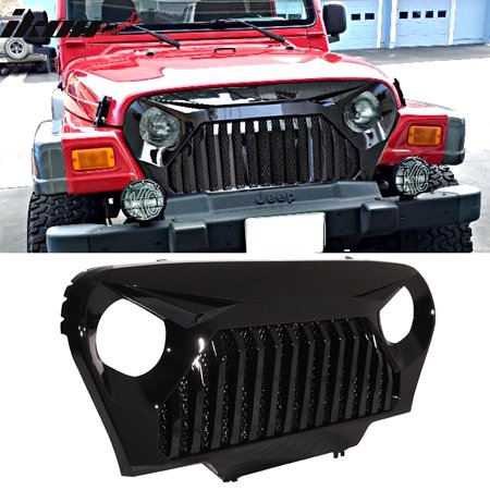 Ikon Motorsports Grille - Fits 97-06 Jeep Wrangler TJ V2 Top Fire Style Grille Gloss Black ABS