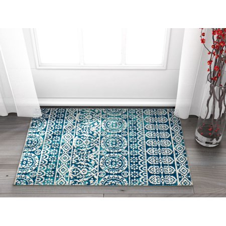 Blue Tile Design - Well Woven Signora Blue Vintage Floral Tile Design Short Pile Kilim-Style Modern 2x3 (2' x 3') Area Rug Multicolor Pattern
