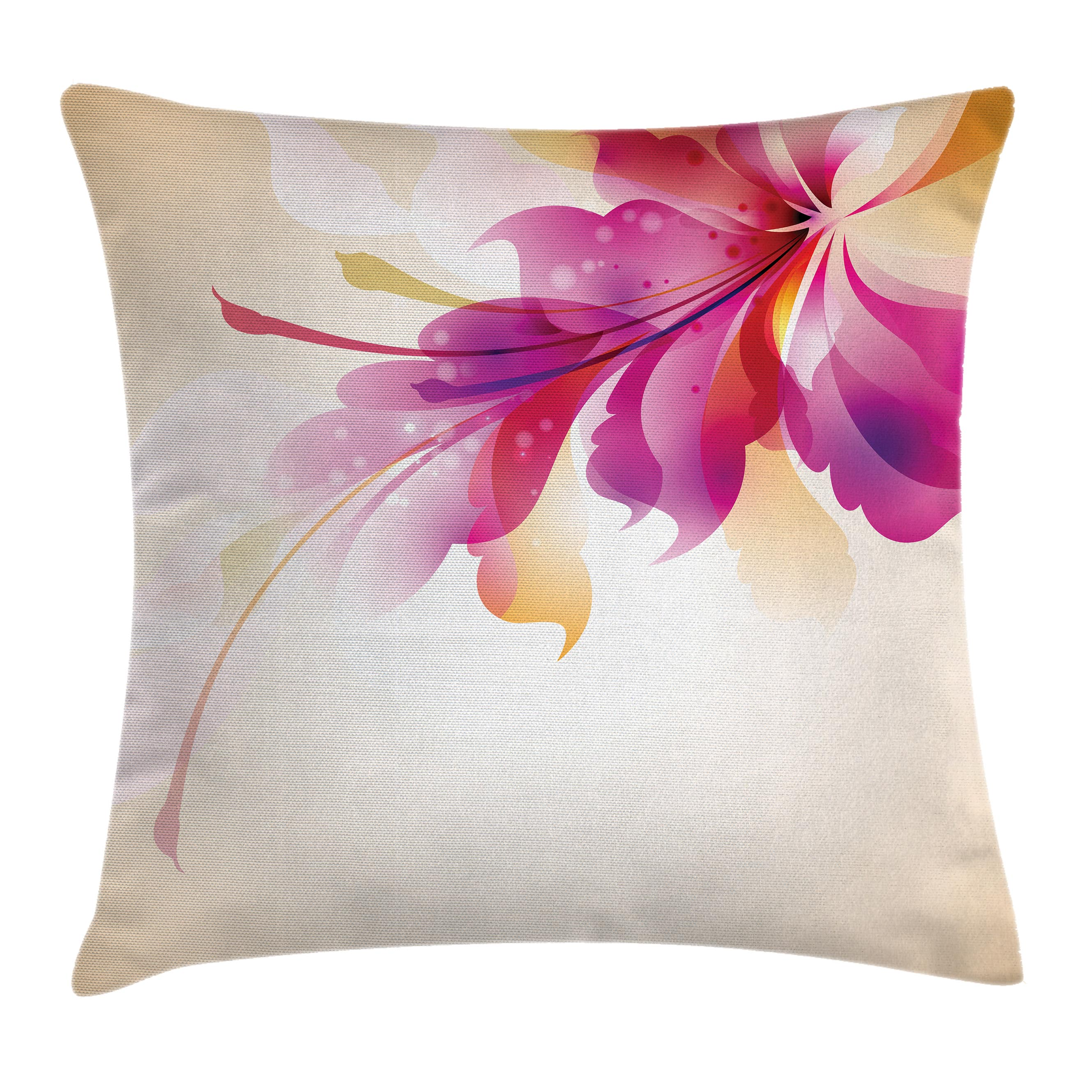 Abstract Decor Throw Pillow Cushion Cover, Artistic Floral Design with Bright Points and Leaves Artwork, Decorative Square Accent Pillow Case, 16 X 16 Inches, Purple Pink and Golden, by Ambesonne