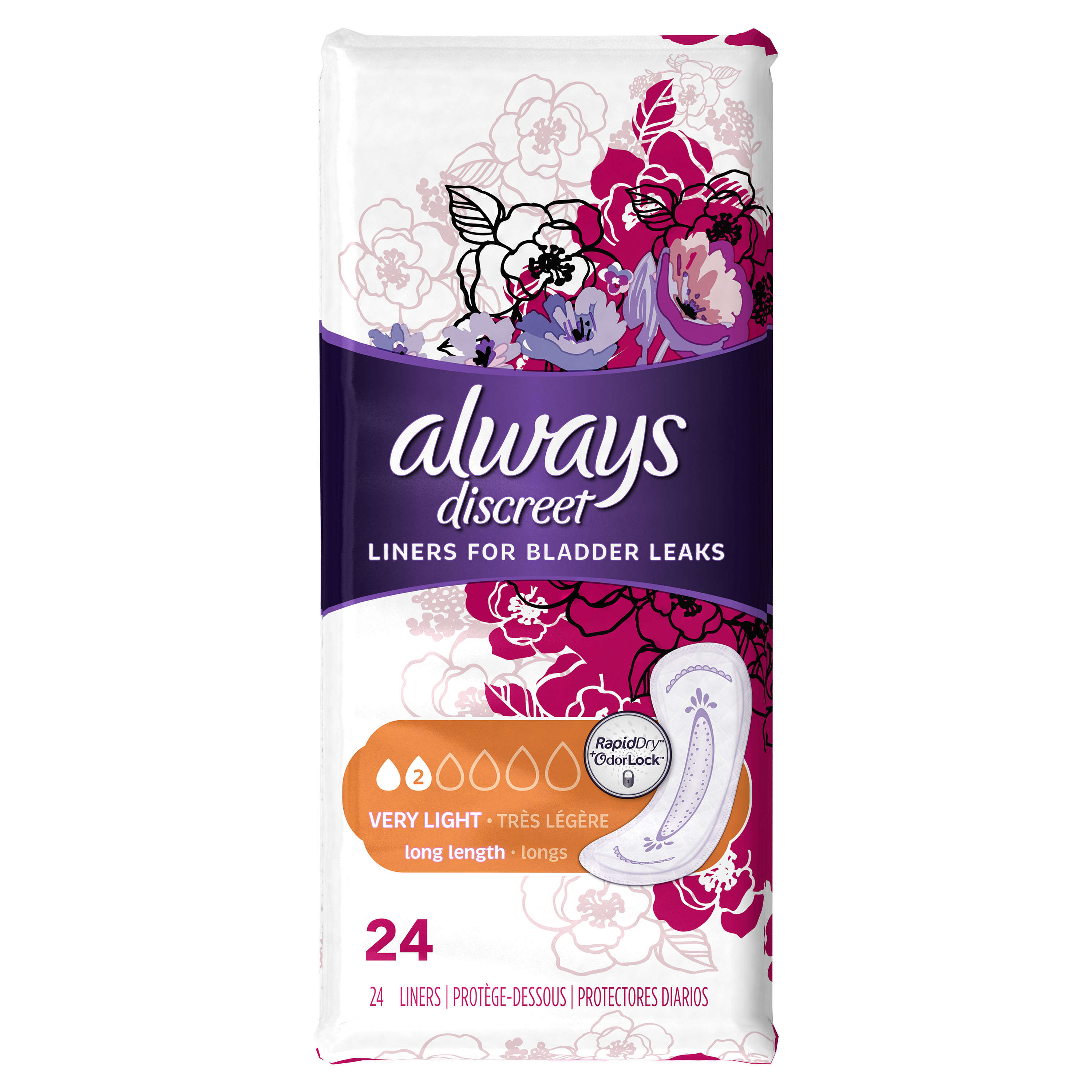 Always Discreet, Incontinence Liners, Very Light, Long Length, 24 Count