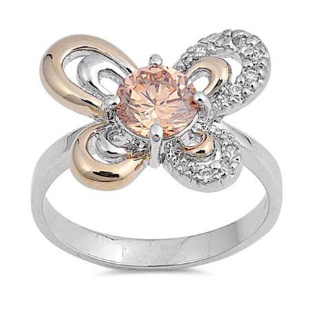 - Champagne Simulated CZ Solitaire Butterfly Ring ( Sizes 5 6 7 8 9 ) New .925 Sterling Silver Band Rings by Sac Silver (Size 5)