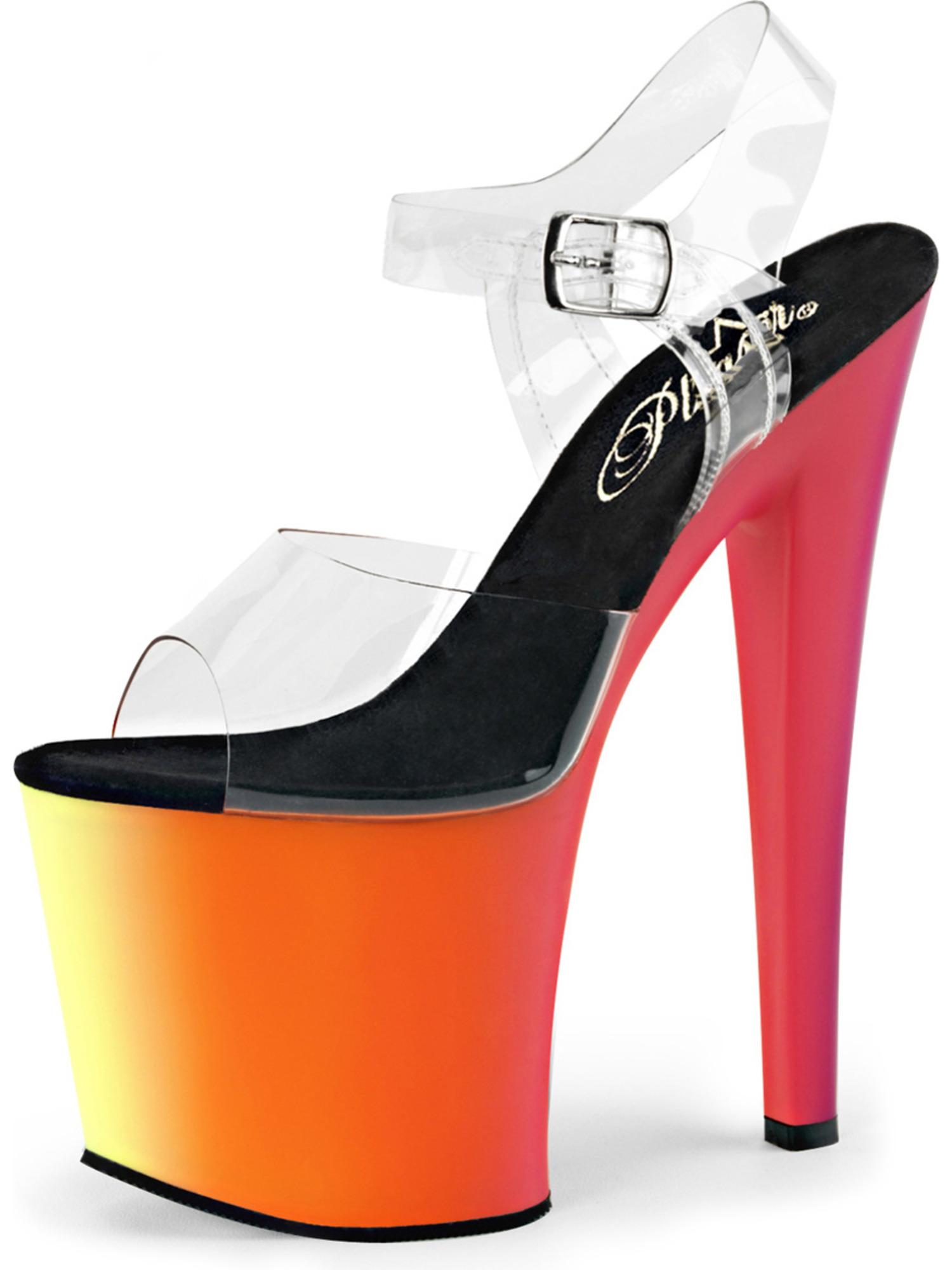 womens glow in the dark shoes neon uv reactive platform sandals 7 1/2 inch heel