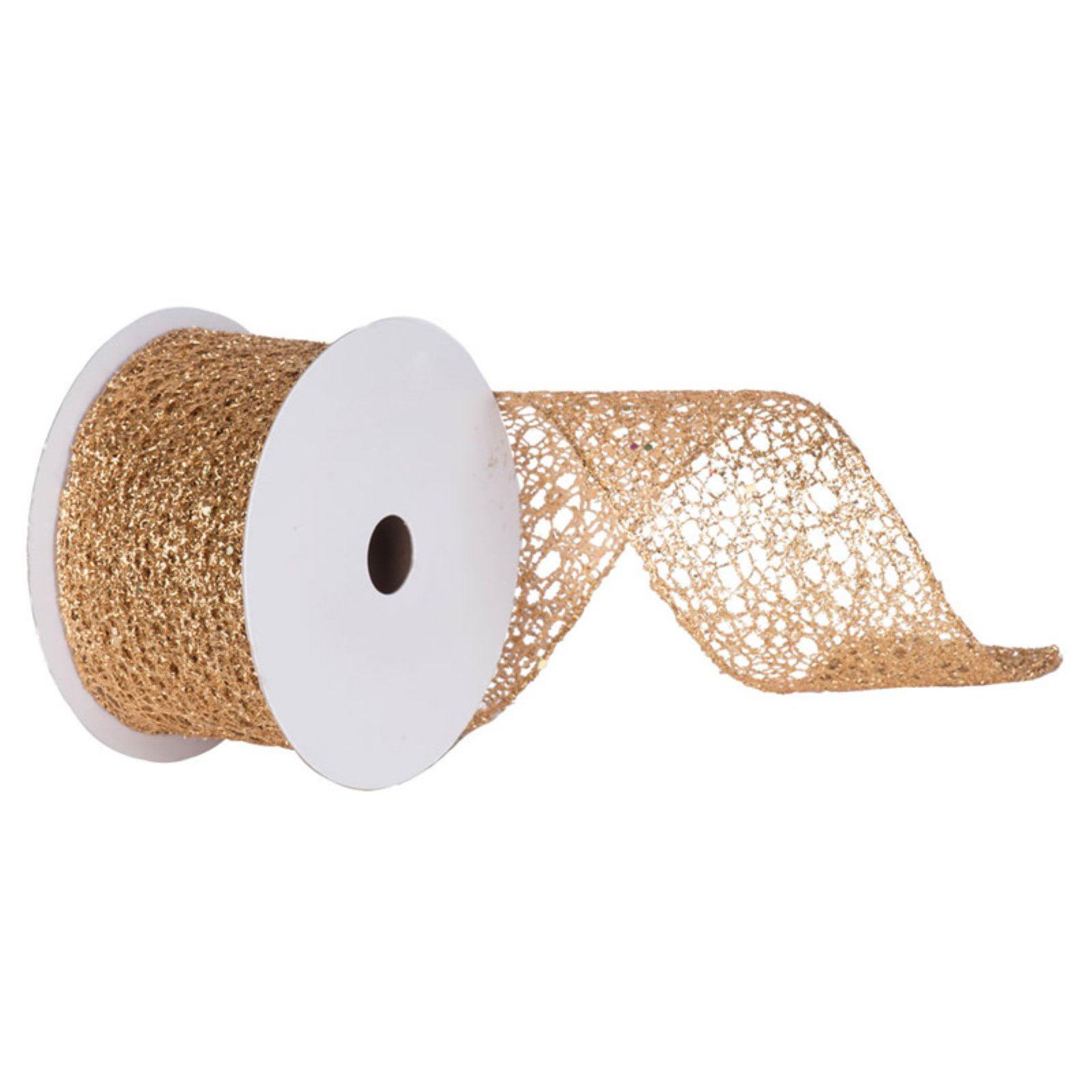 "Vickerman 2.5"" Gold Glitter Mesh Christmas and Craft Ribbon"