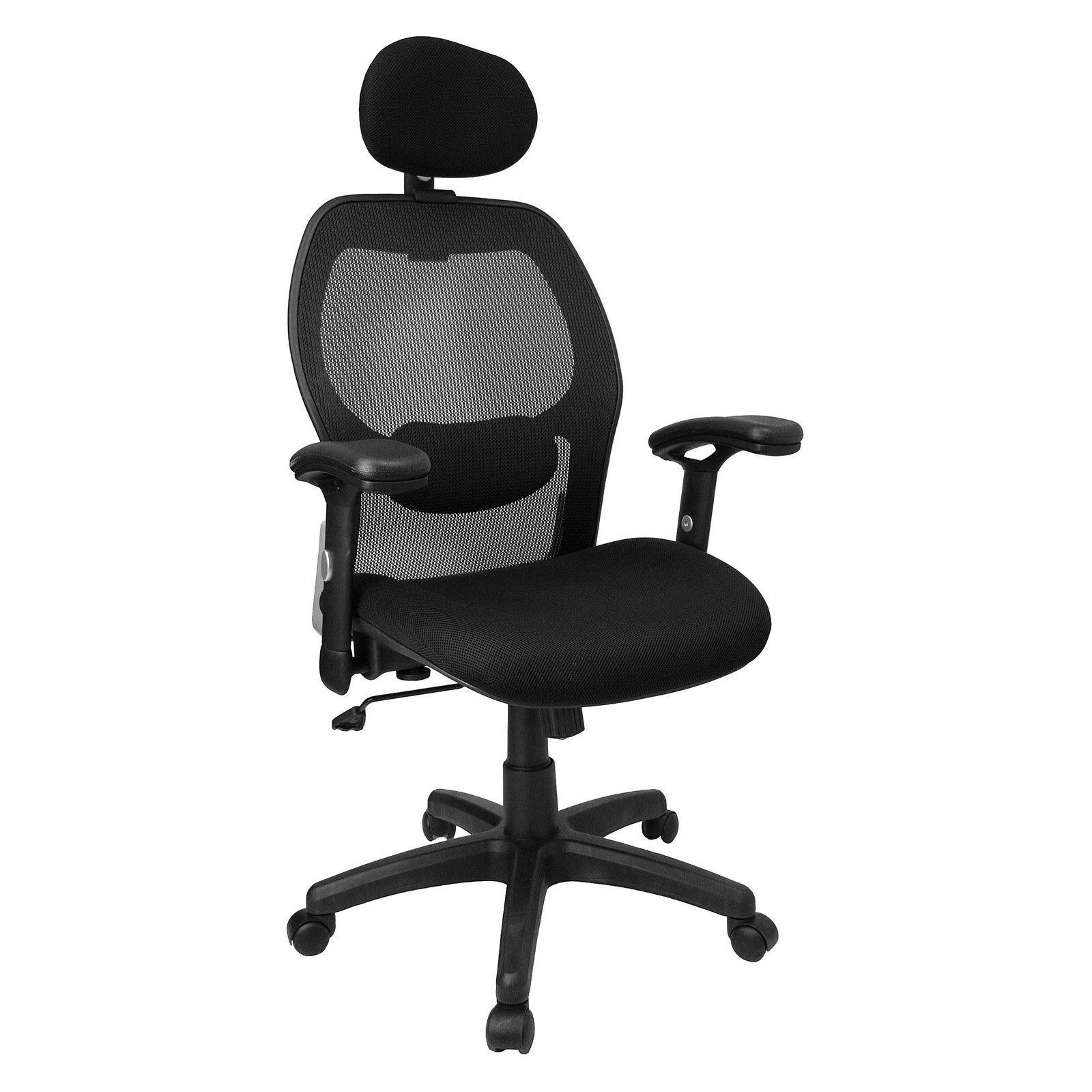 chair with headrest. super mesh back chair with headrest and arms, black