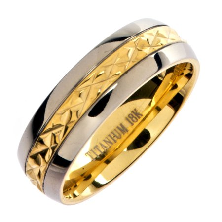 7mm 18K Gold Plated Wedding Ring Grade 5 Titanium Band Comfort Fit 7mm Comfort Fit Wedding Band