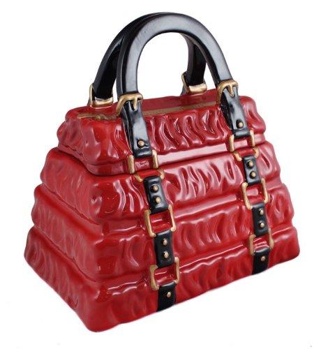 Red Pleated Handbag Cookie Jar, Ceramic cookie jar By Nei...