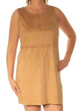KENSIE Womens Brown Sleeveless Jewel Neck Mini Shift Dress  Size: L