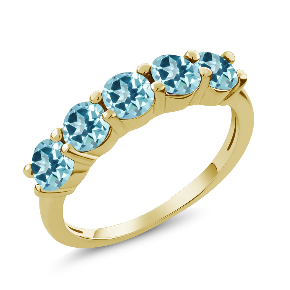 925 Yellow Gold Plated Silver Ring Set with Ice Blue Topaz from Swarvoski by
