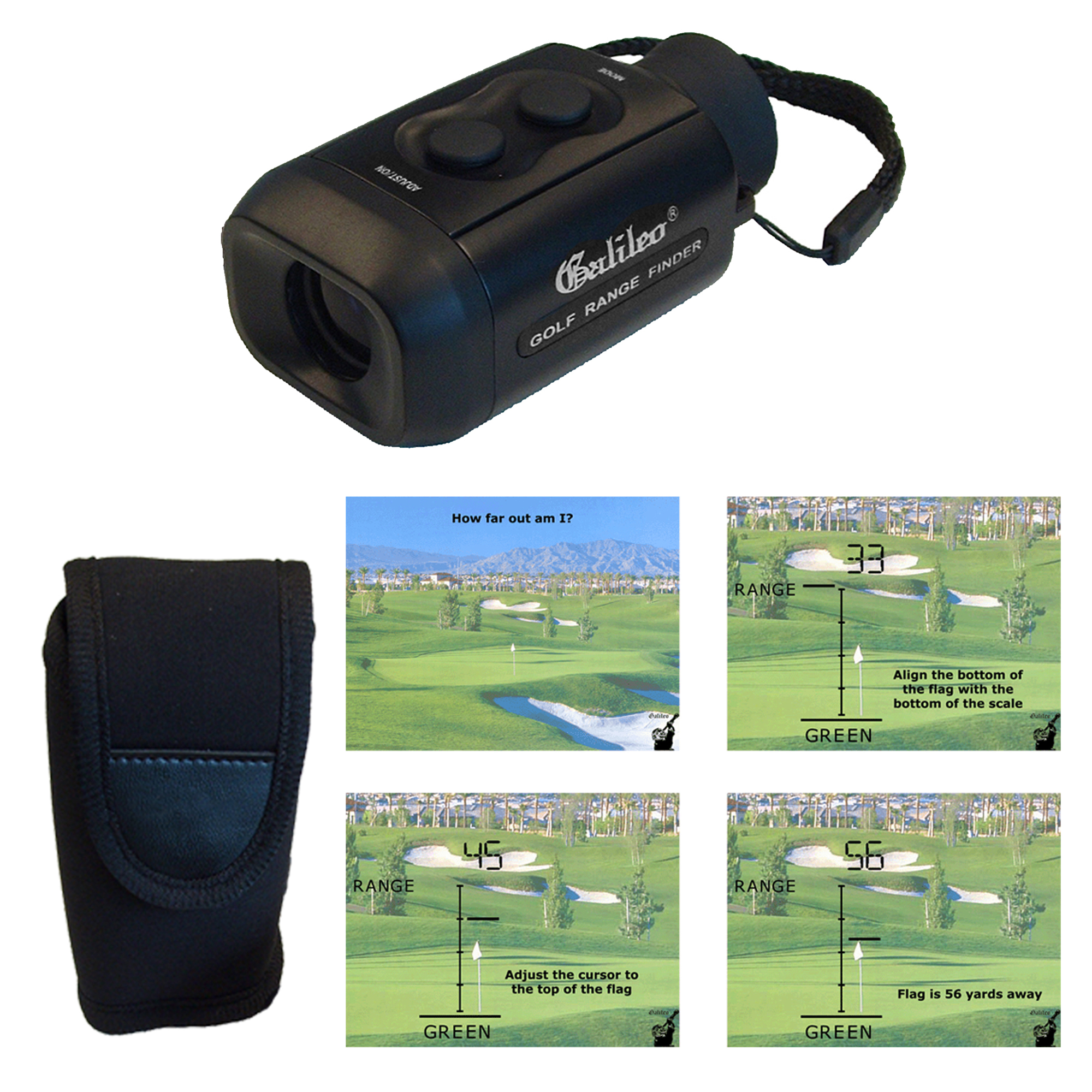 Galileo electronic Golfscope brings image 7 x closer with digital output to measure distance. Case and strap included.