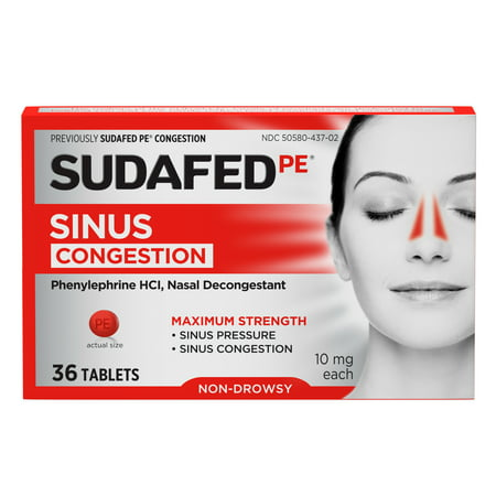 Sudafed PE Maximum Strength Non-Drowsy Sinus Decongestant, 36
