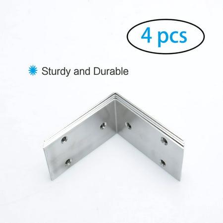 Angle Bracket Stainless Steel Brace Connection Fastener w Screw 85x85mm, 4pcs - image 1 de 7