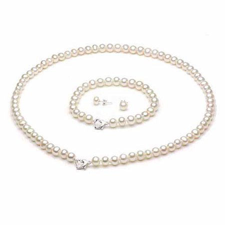 ADDURN 5-6mm White Freshwater Pearl Heart-Shape Sterling Silver Necklace (18