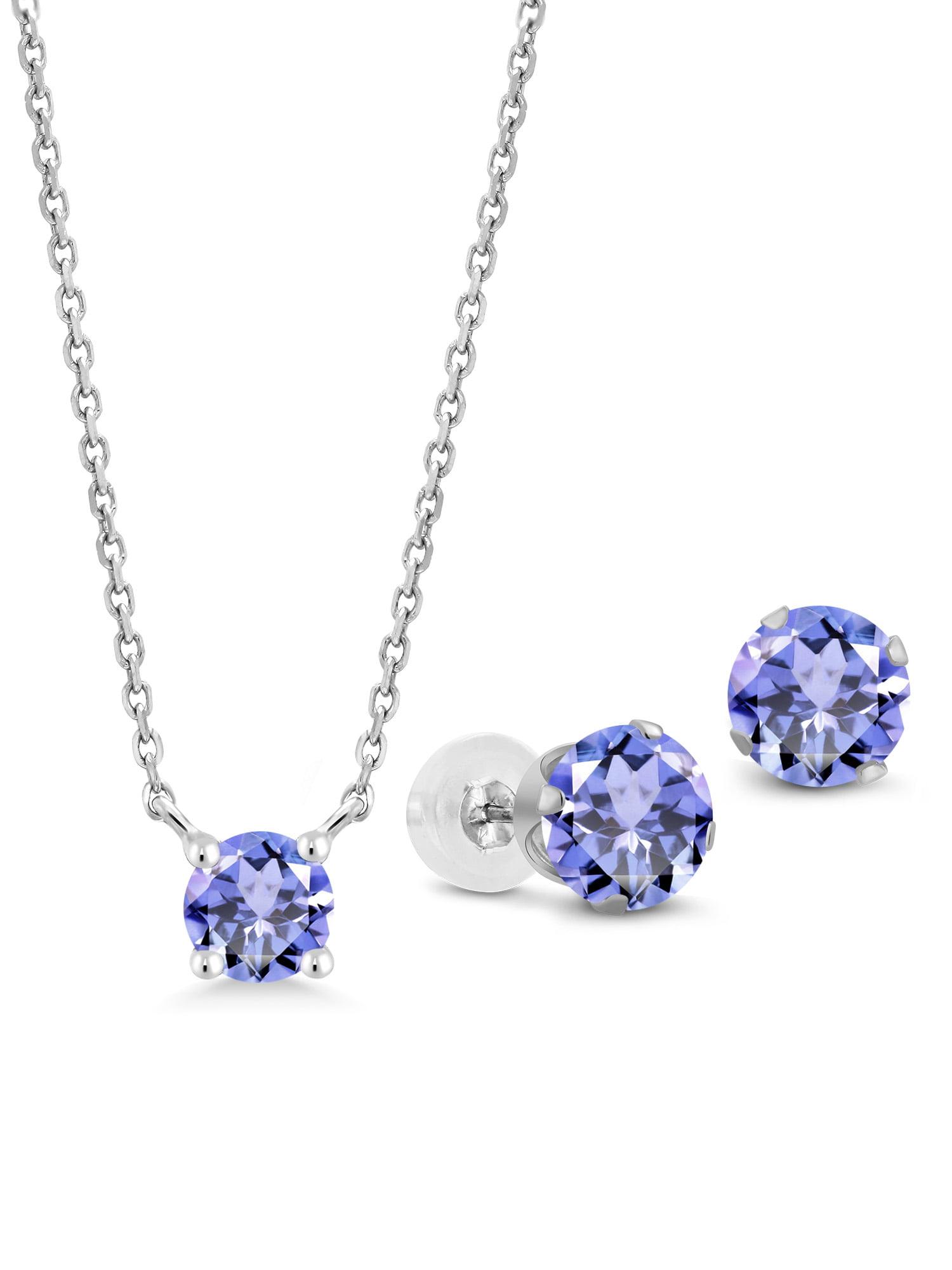 2.10 Ct Round Blue Tanzanite 10K White Gold Pendant Earrings Set by