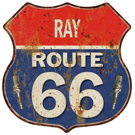 RAY Route 66 Personalized Shield Metal Sign Man Cave Gift