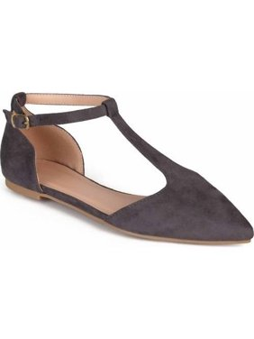 Women's T-strap Pointed Toe Faux Suede Flats