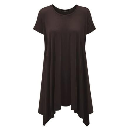 9736118ca9d6 MBJ WT1110 Womens Short Sleeve Side Panel Loose Fit Tunic Top XL BROWN -  Walmart.com