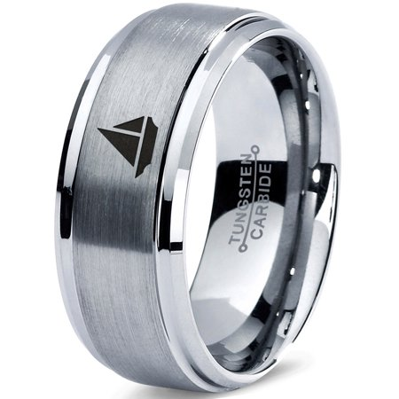 Tungsten Sail Cruiser Speed Boat 2d Art Band Ring 8mm Men Women Comfort Fit Gray Step Bevel Edge Brushed Polished
