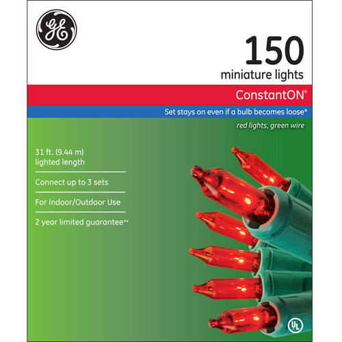 GE ConstantON Red Christmas Lights, 150 Count