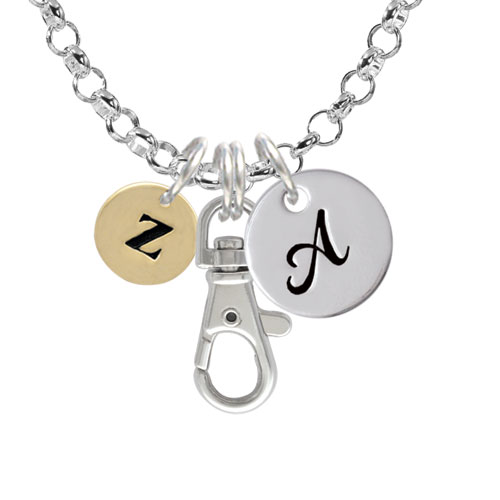 Gold Tone Disc 1/2'' Initial - z - A - Initial Badge Clip Necklace