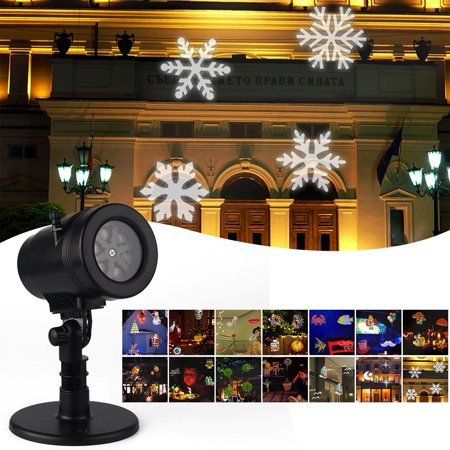 Waterproof Snowflake Rotating Projector Lights,14 Pattern LED Moving Projector Landscape Stage Light Indoor Outdoor Decoration for Halloween Thanksgiving Christmas Carnival New Year Birthday
