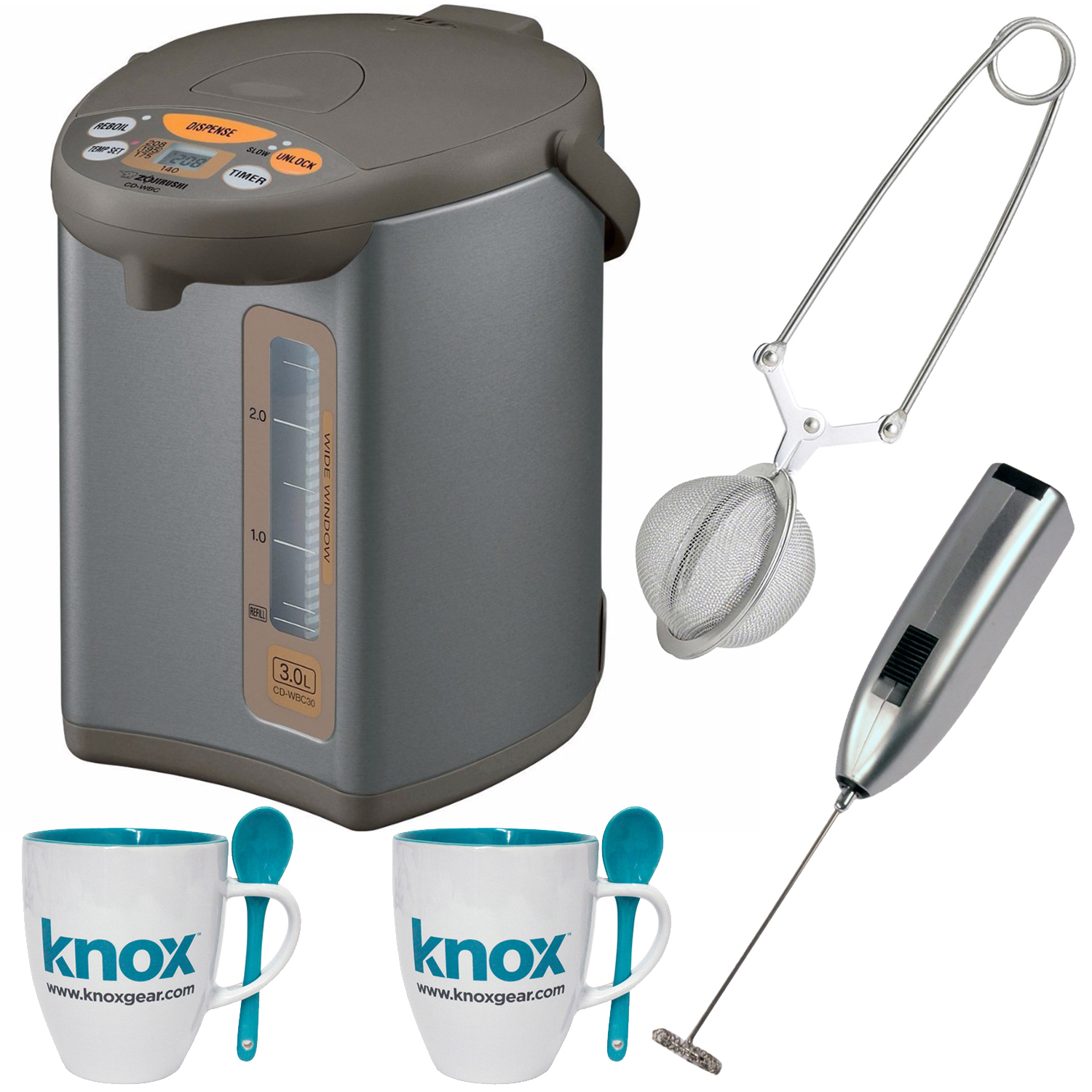 Zojirushi CDWCC30 Micom 3 Liter Water Boiler + Knox Mugs, Frother and Infuser