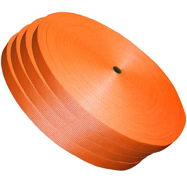 Kubinec CL-114 1.25 in. Orange Woven Polyester Strap, 600 ft. Coil - 3835 lbs System Strength - 4 Rolls