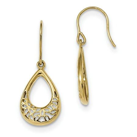 Polished Teardrop Earrings (14k Yellow Gold Polished Floral Teardrop Shepherd Hook)