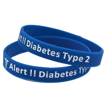 KABOER 1\/2Pcs Type 2 Diabetes Silicone Bracelets andamp; Bangles Medical Alert Wristbands For Women Men ()