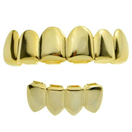 14k Gold Plated Grillz Set Six Top 6 Upper Teeth 4 Bottom Four Lower Plain Teeth Hip Hop Grills