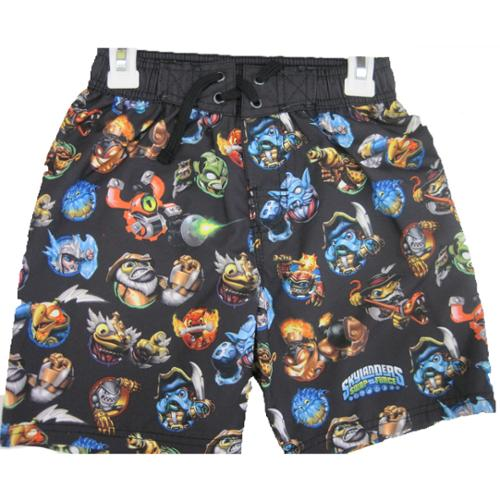Skylanders Swap Force Boys Black Character Print Swim Wear Shorts 8-16