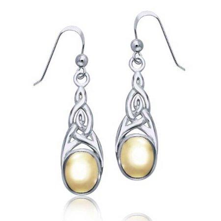 Love Knots Sets Earrings (Two Tone Celtic Irish Love Knot Work Bezel Set Fish Hook Dangle Earrings For Women Gold Plated 925 Sterling)