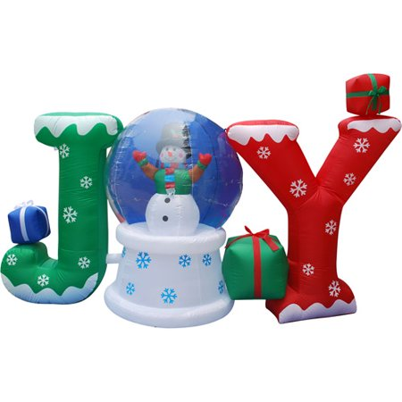 "6' Long Airblown Christmas Inflatable Static ""JOY"" Globe with Snowman Inside and Blinking Lights"