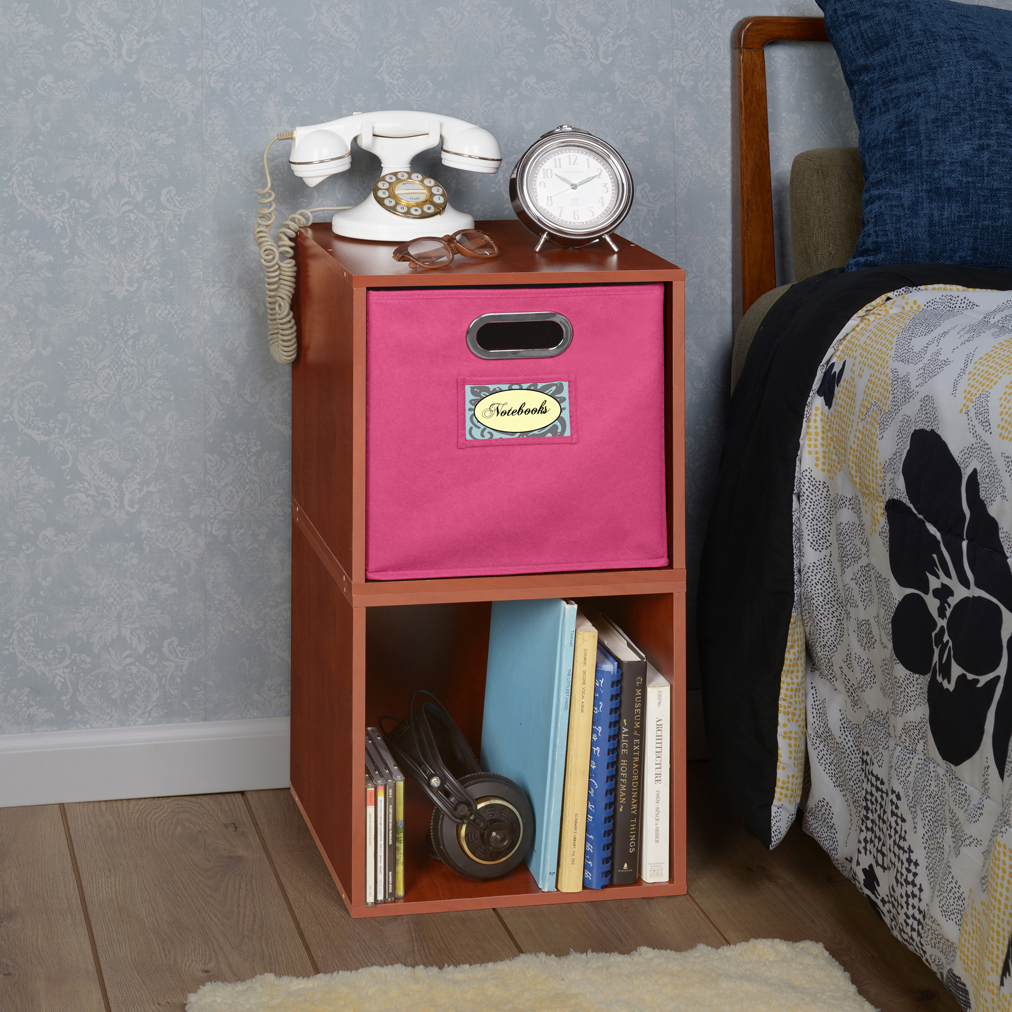 Regency Niche Cubo Storage Set of 2 Cubes and 1 Canvas Bin- Cherry/Pink