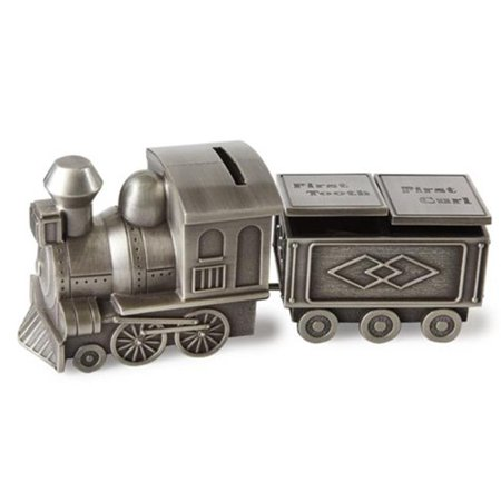 Elegance Pewter Plated Train Bank, Tooth & Curl Boxes Set - 2.75 x 6.75 in.