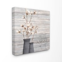 The Stupell Home Decor Grey Home Sweet Home Cotton Flowers in Vase Canvas Wall Art