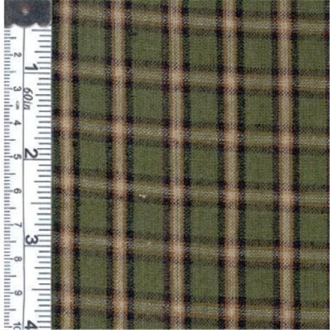Textile Creations 1208 Rustic Woven Fabric, Plaid Green And Black Brown, 15 yd.