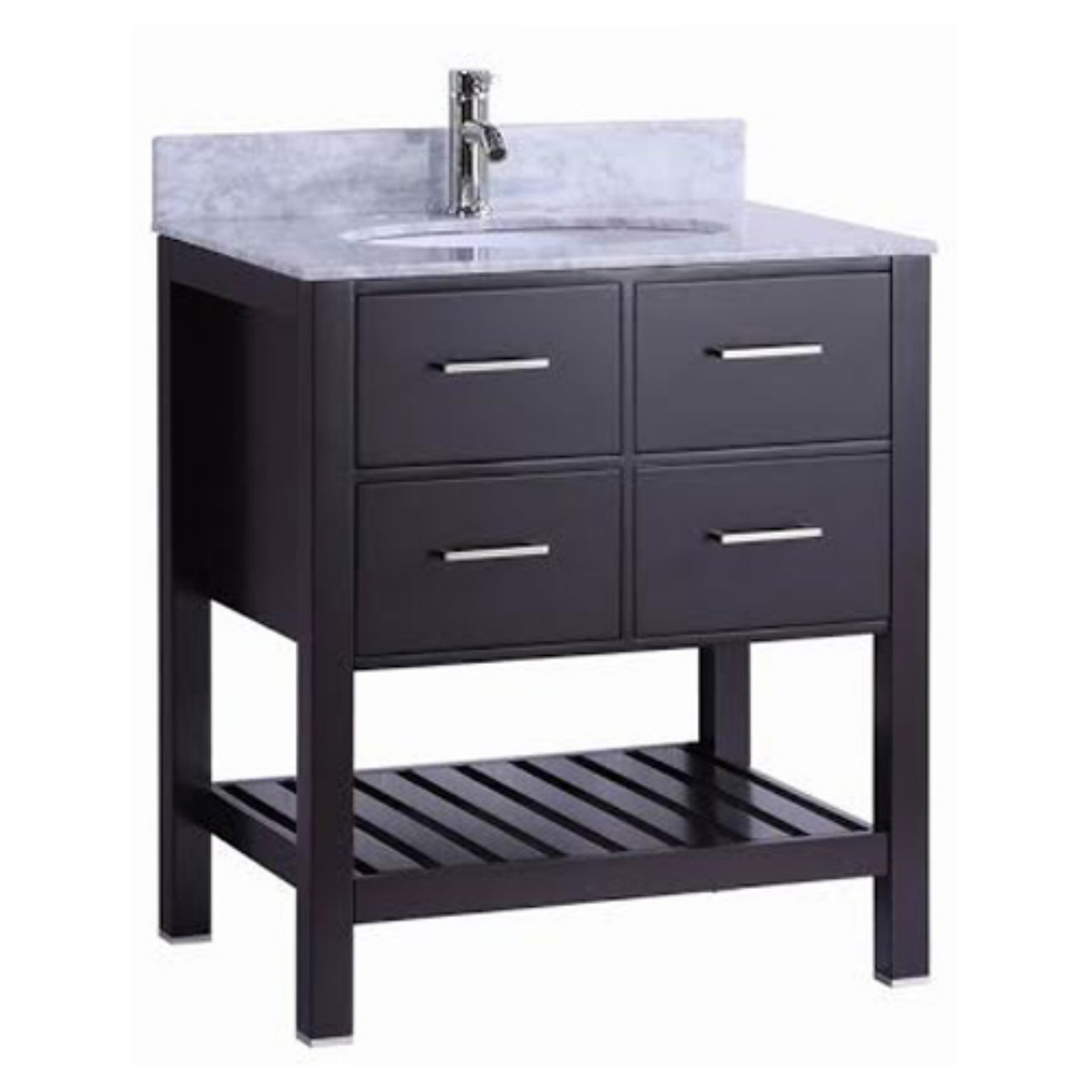 Belvedere 30 in. Single Bathroom Vanity with Marble Top and Backsplash by Overstock
